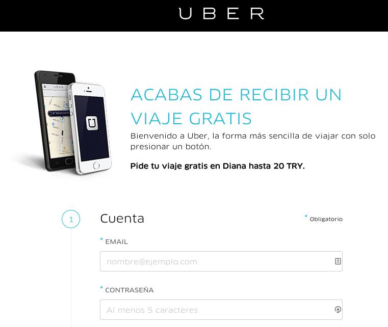 Crear una cuenta nueva en Uber