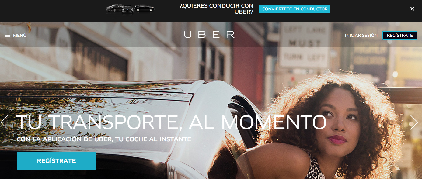 Uber entrada página en la Web